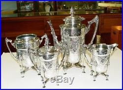 Victorian Rogers AESTHETIC Silverplate Teapot Sugar Creamer Waste Set TEATS