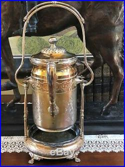Victorian Rogers Silver Quadruple Tilting Water Pitcher with Stand pat 1878