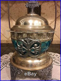 Victorian Rogers Silver Relish Sugar Castor Blue Optic Glass sugar spooner 1926