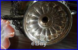 Victorian Ruffled Glass Bride Basket Bowl, Rogers&Bro Silver Pedestal Centerpiece