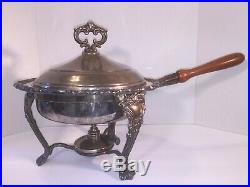 Victorian Style Elegant Lobster Chafer F. B. Rogers Silver Plated Dish Warmer Set