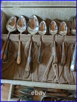 Vintage 1847 Rogers Bros 99 Piece Silverware Flatware Set In Case