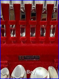 Vintage 1847 Rogers Bros Silverware Large Set In Wood Box With Red Interior