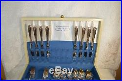 Vintage 1847 Rogers Brothers Daffodil 52 Piece Silver Plate Set with Box