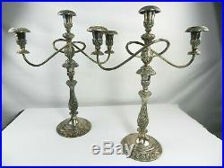 Vintage 2 Rogers Brothers Candelabra Heritage 9416 3 Candle Holder Silver Plate
