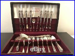 Vintage 50 Piece Set Silverware Flatware Chest Box 1847 Rogers Bros