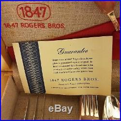 Vintage 55 Piece Set FIRST LOVE Silverware Flatware w Chest Box 1847 Rogers Bros
