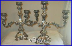 Vintage Candelabra Pair, 3-Branch by Wm. Rogers, #116 Silverplate Baroque Pair