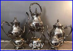 Vintage FB Rogers Silver Plate 7pc Tea/Coffee Set, Tilt Kettle withWarmer, Tray