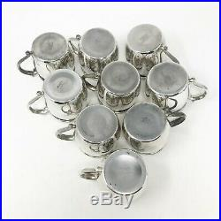 Vintage FB Rogers Silver plate Punch Bowl W Tray and Thirteen Cups