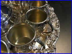 Vintage Large F. B. Rogers Silver Co Punch Bowl And Ladle 15 Cups Tray Centerpiece