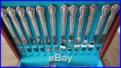 Vintage Roger Bros Silverplate Flatware Set 68 Pieces Flower Pattern