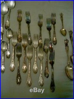 Vintage Rogers 1881, Wm A Rogers, 1847 Grape Pattern Silver Plate Flatware Lot
