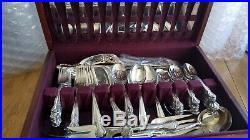 Vintage Rogers Bros Silver plate Flatware set for 12 & Serving Utensils in Box