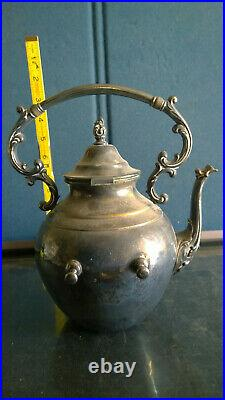 Vintage Rogers Teapot and Swivel Caddy with Alcohol Burner-Non Profit Org