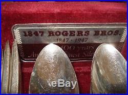 Vintage WM. Rogers Silverware Set of 84 piece Set in Wood Chest