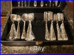 Vintage WM Rogers & Son Enchanted Rose Silverplate Flatware Set-42 Piece with Box