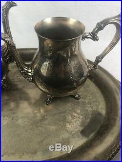 Vintage W. M. Rogers 800 Sterling Silver Plate Coffee Tea Tray Set Creamer Sugar