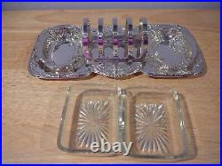 Vintage Wm Rogers Toast Rack E. P. On Copper & Jam Dishes