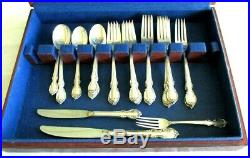 Vtg 1847 Rogers Bros. Reflection Silver Plate Flatware Set 56 Pieces With Box