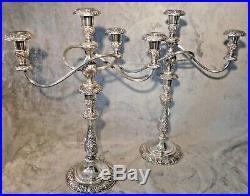 Vtg 1847 Rogers Brothers Candelabra Heritage 9416 3 Candelabra set Silver Plate