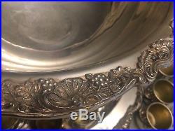 Vtg FB Rogers Silverplate Lg Grapevine Punchbowl Set, 60 Punch Glasses Ladle Etc