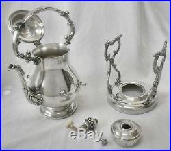 Vtg WM ROGERS #906B Slv Plated Tilt Coffee/Teapot/Water Pot withStand & Burner Pot