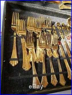 WM ROGERS & SON gold plated 61 pieces SERVING OF 12 withcase silverware set