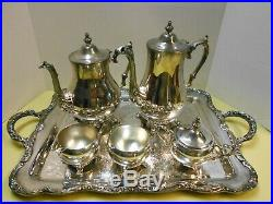 WM Rogers & International Silver Co Silver Plate Tea Coffee Service Set
