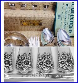 WM Rogers & Son APRIL Silverplate Intl. Silver 62pc Serv. For 8 Flatware + Chest