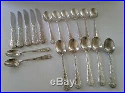 WM Rogers & Son Enchanted Rose 41 + 18 Silverplate Pieces Flatware Set