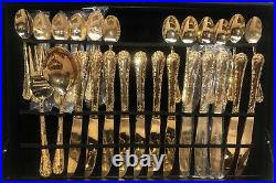 WM. Rogers & Son Enchanted Rose Gold Plated Flatware 63 piece Set