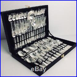 WM Rogers & Son Silverplate China Enchanted Rose 64 Pieces Flatware Set