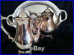 Wm ROGERS & SON 5 PC COFFEE TEA SILVER SET W ROGERS & BRO 1966 TROPHY TRAY