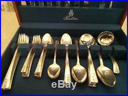Wm Rogers 1938 LOUISIANE Sectional IS Silver Plate Flatware Set 61pc withcase