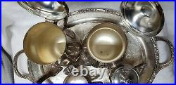 Wm Rogers 800 Silver Coffee Tea Set 5 Piece Set With Heavy Decorated Tray