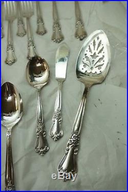 Wm Rogers Silverplate Flatware Valley Rose Pattern 79 Pc Set Silverware Vintage