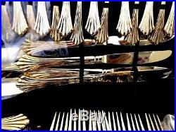 Wm. Rogers and Son Gold Plated Flatware Set 62 pieces and Case