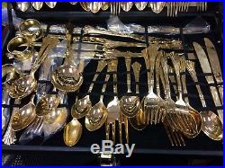 Wm. Rogers and Son Gold Plated Flatware Set 66 pieces