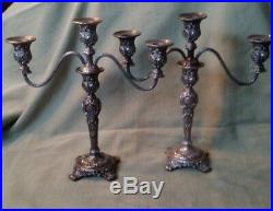 Wm Rogers and Son Silverplate Victorian Rose Three Light Candleholders