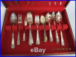 Wm Rogers and Son Silverware Sunflower 48 piece Set in Wm Rogers wood case